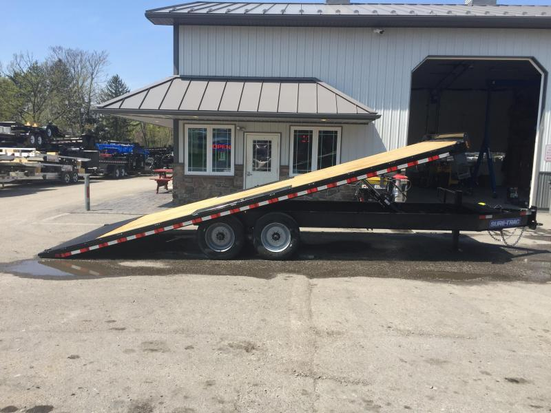 2018 Sure-Trac 102x22' LoPro Power Tilt Deckover 17600# GVW 8K AXLES + OIL BATH