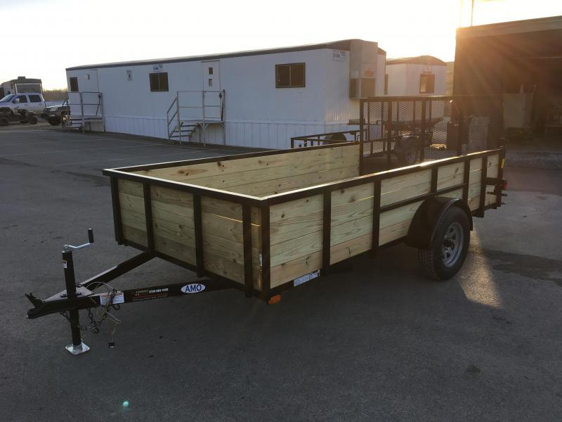 "2018 AMO 76""x12' Wood Side Utility Trailer 2990# GVW"