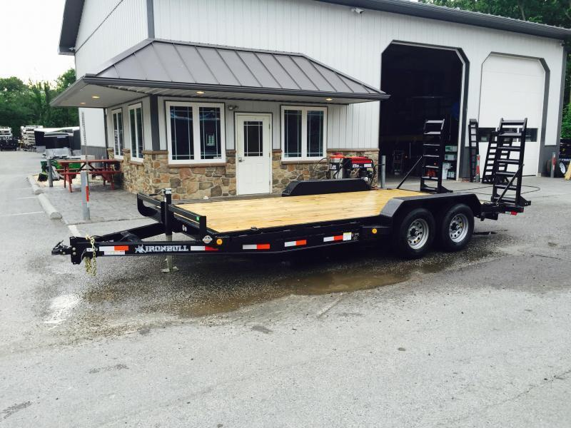 2018 Ironbull 7x16' Lowboy Equipment Trailer 9990# GVW STAND UP RAMPS