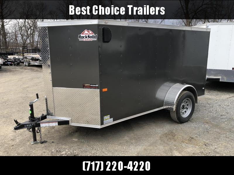 2019 Rock Solid Cargo 5x10 Single Axle Enclosed Cargo Trailer * CHARCOAL * V-NOSE * RAMP DOOR