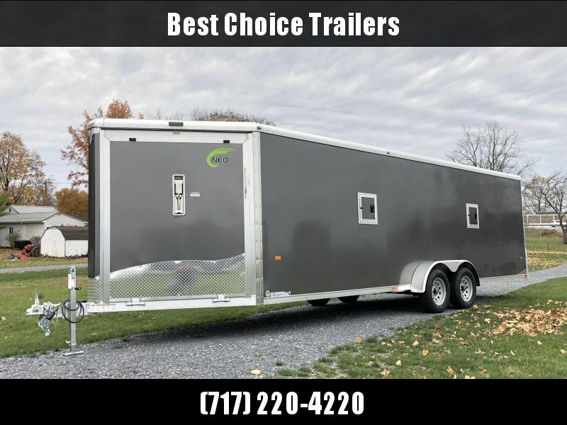 2019 Neo 7x26' Aluminum Enclosed Snowmobile All-Sport Trailer * LOADED MODEL * 4-PLACE * CHARCOAL