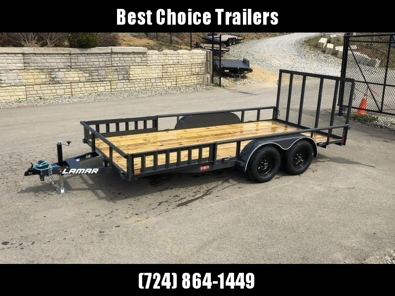 "2019 Lamar 7x16' ATV Utility Trailer 7000# GVW * ATV SIDE RAMPS * 7' WIDTH * CHARCOAL * PIPE TOP RAIL * ADJUSTABLE COUPLER * DROP LEG JACK * 2x2"" TUBE GATE W/ SPRING ASSIST"