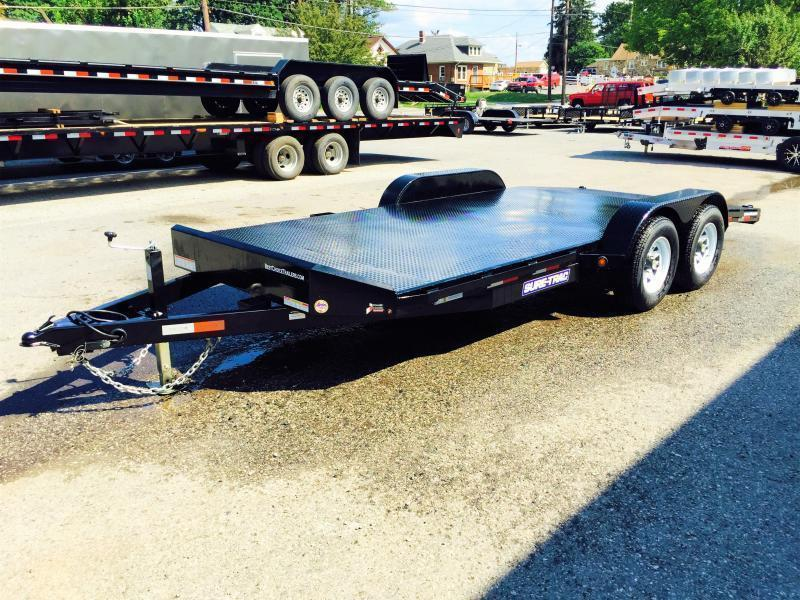 2017 Sure-Trac 7x18 Steel Deck Car Hauler 7000# Race Trailer LOW LOAD ANGLE