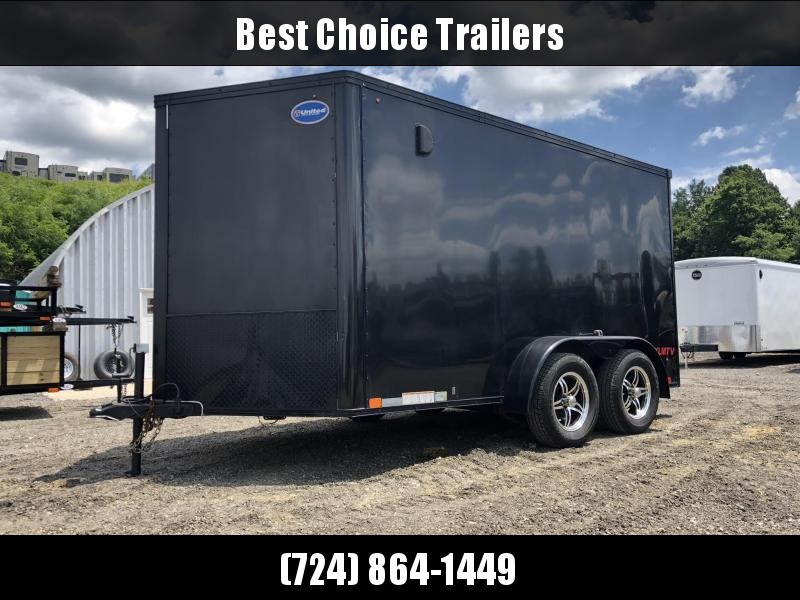 USED 2015 United 7x12' Enclosed Motorcycle Cargo Trailer 7000# * BLACKOUT * SCREWLESS * FINISHED INTERIOR * ALUMINUM WHEELS
