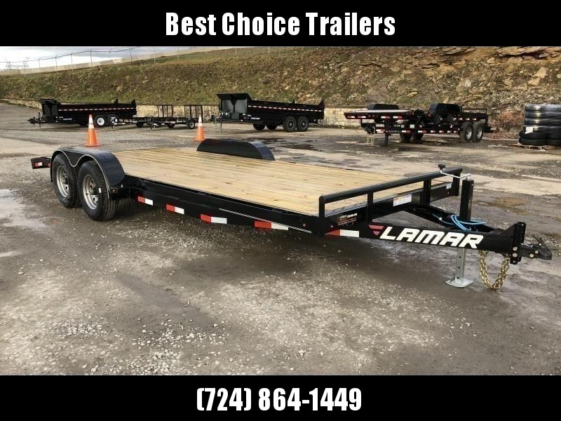 2019 Lamar 7X20' CC10 Car Trailer 9990# GVW RUBRAIL * REMOVABLE FENDERS  * CHARCOAL POWDERCOATING * 7K DROP LEG JACK * CLEARANCE - FREE ALUMINUM WHEELS