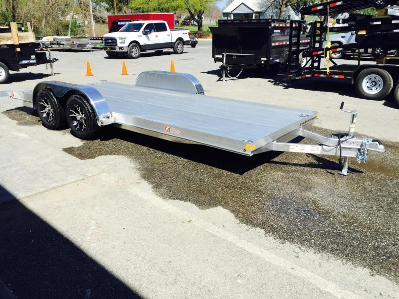 2018 Kiefer 7x18' 7000# Aluminum Car Hauler TORSION EXTRUDED FLOOR ALUMINUM WHEELS LOW LOAD ANGLE 6' RAMPS