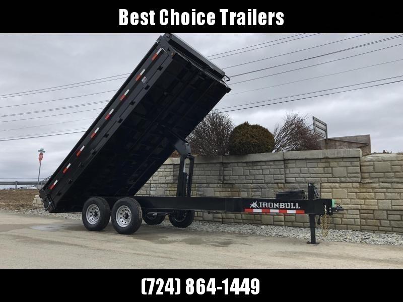 """2019 Iron Bull 8x16' 14000# GVW Deckover Dump Trailer * TARP KIT * OVERSIZE 5X20 SCISSOR HOIST * 10"""" I-BEAM FRAME * 12K JACK * HD COUPLER * FOLD DOWN SIDES"""