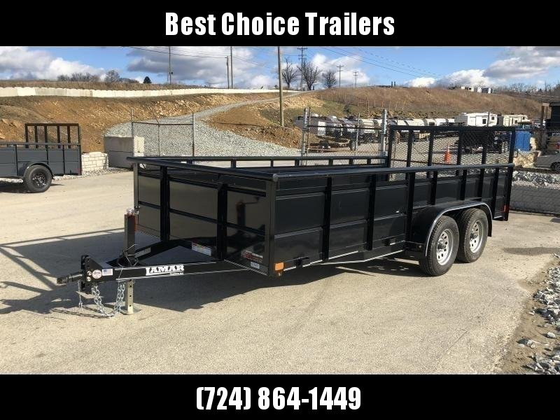 2019 Lamar 7x16' Utility Trailer 7000# GVW * 2' STEEL HIGH SIDES *  PIPE TOP * ADJUSTABLE COUPLER * DROP LEG JACK * TIE DOWN RAIL * CHARCOAL * TUBE GATE * CLEARANCE - FREE SPARE TIRE & MOUNT