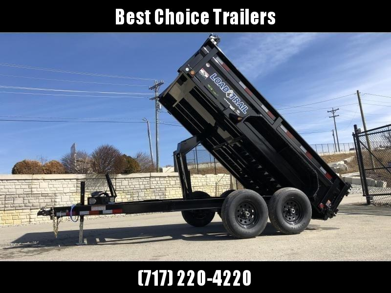 "2019 Load Trail 7x12' Dump Trailer 9990# GVW * DT8312052 * 2' SIDES * 3-WAY GATE * I-BEAM FRAME * TARP KIT * SCISSOR HOIST * 16"" RUBBER * 6"" TUBE BED FRAME * 110V CHARGER * DEXTER'S * 2-3-2 * POWDER PRIMER"