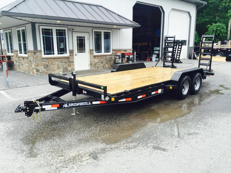 2018 Ironbull 7x18' Lowboy Equipment Trailer 9990# GVW STAND UP RAMPS