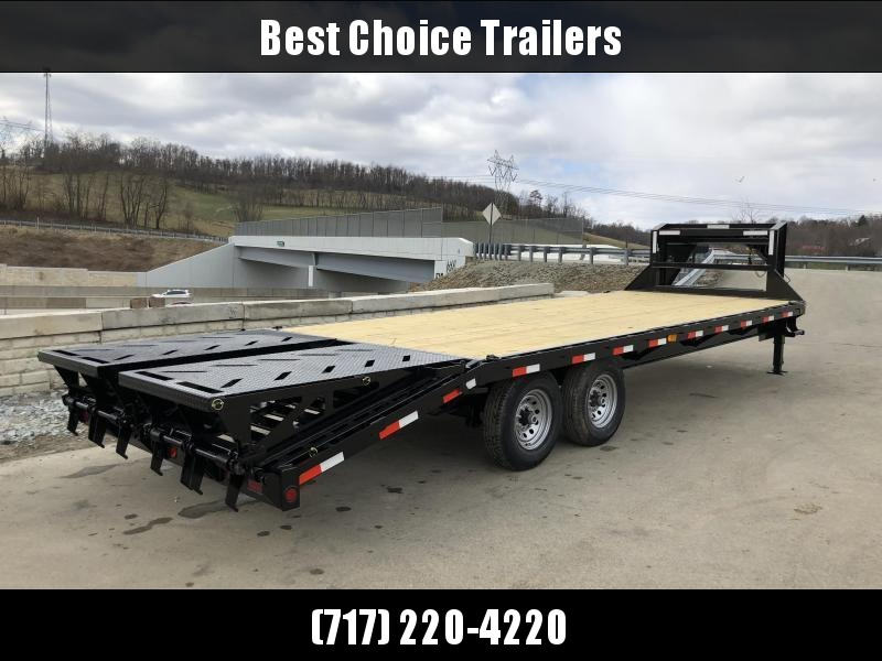 2019 Ironbull 102x20+5' Gooseneck Beavertail Deckover Flatbed 14000# * FULL WIDTH RAMPAGE RAMPS
