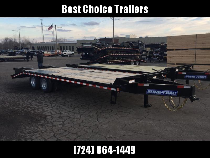 2019 Sure-Trac 102x25+5 22K Pintle Beavertail Deckover Trailer Pierced Frame OAK DECK & RAMPS PAVER TRAILER  * OAK RAMPS/TAIL/DECK * FULL WIDTH RAMPS