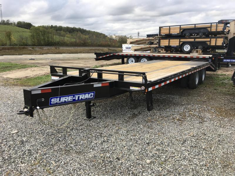 2018 Sure-Trac 20+5' HD LowPro Deckover 22500# GVW - ST102205LPDO2A-B-225 - WOOD RAMPS