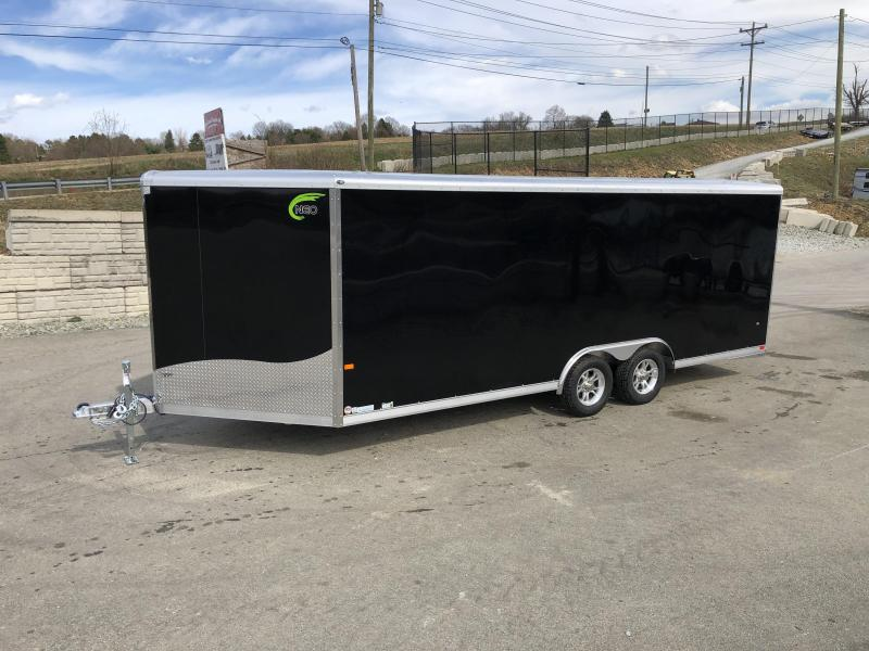 2019 NEO 8.5x20' NCBR2085 Aluminum Enclosed Car Hauler Trailer 7000# * ROUND TOP * NUDO FLOOR & RAMP * ALUMINUM WHEELS * BLACK
