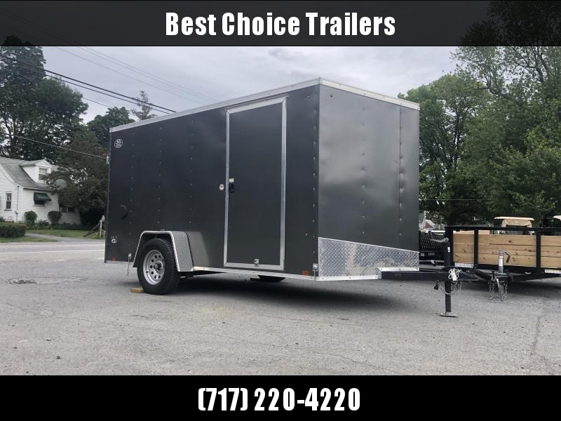 USED 2017 Look 6x12 Enclosed Cargo Trailer 2990# GVW * BARN DOORS * SLANT V-NOSE * CHARCOAL