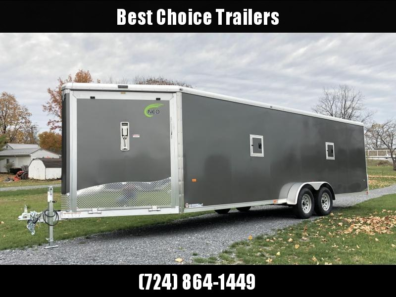 2019 Neo 7x28' Aluminum Enclosed Snowmobile All-Sport Trailer * LOADED MODEL * 4-PLACE * SILVER
