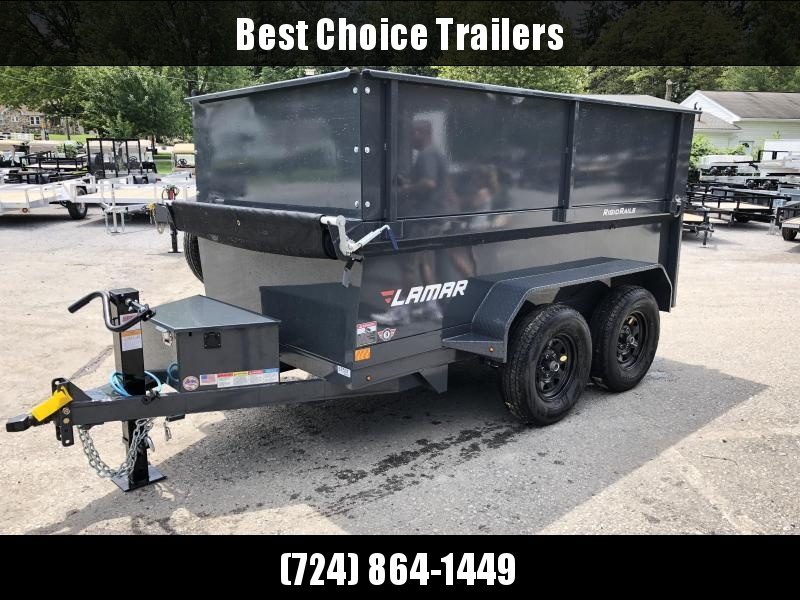 2019 Lamar 5x10' DS60 Dump Trailer 7000# GVW - DELUXE * 12K JACK * RAMPS * TARP * SPARE & MOUNT * 2' HIGH SIDES * 2' SOLID EXTENSIONS * VOLT METER