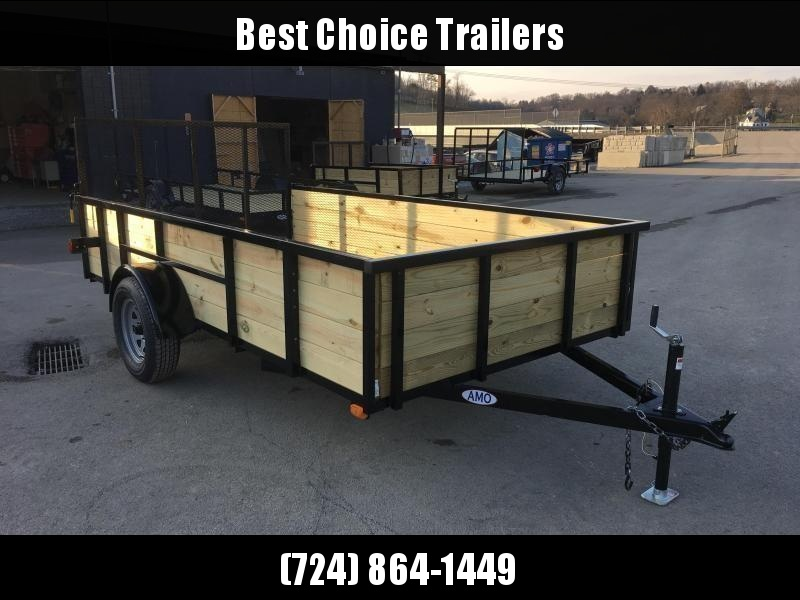 "2019 AMO 78""x10' Wood HIGH SIDE Angle Iron Utility Landscape Trailer 2990# GVW * 4-BOARD HIGH SIDE"