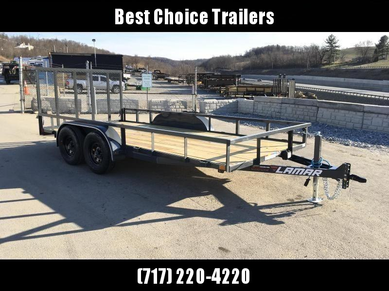 2018 Lamar 7x16' Tube Top Utility Landscape Trailer 7000# GVW DELUXE * TUBE TOP * TUBE GATE * DROP LEG JACK * ADJUSTABLE COUPLER * CHARCOAL * CLEARANCE - FREE SPARE TIRE