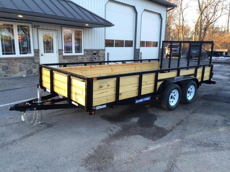 2018 Sure-Trac 7x16' Tube Top Three Board High Side Landscape Utility Trailer 7000# GVW