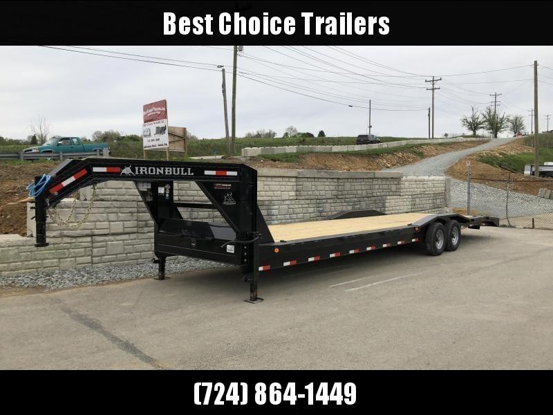 "USED 2018 Ironbull 102x34' Gooseneck Car Hauler Equipment Trailer 14000# GVW * 102"" Deck * Drive Over Fenders * Extended 4' dovetail * Winch plate * CLEARANCE - FREE ALUMINUM WHEELS"