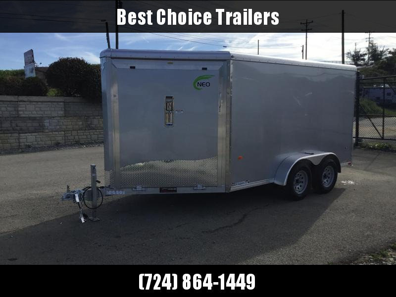 """2019 Neo 7x16' Aluminum Enclosed All-Sport Trailer * 2-SLED * SILVER * FRONT RAMP * NXP LATCHES * FLOOR TIE DOWN SYSTEM * REAR JACKSTANDS * UPGRADED 16"""" OC FLOOR * UPPER CABINET * UTV * ATV * Motorcycle * Snowmobile"""