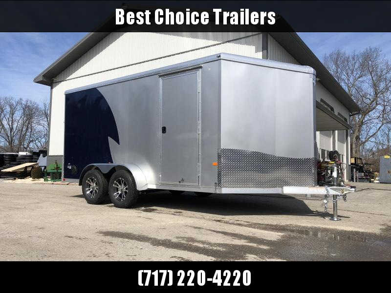 "2019 NEO Trailers 7X14' NAMR Aluminum Enclosed Motorcycle Trailer * INDIGO & SILVER * VINYL WALLS * ALUMINUM WHEELS * +6"" HEIGHT * NUDO FLOOR & RAMP"