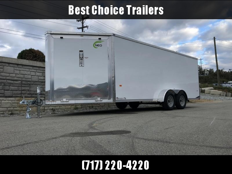 "2019 Neo 7x22' Aluminum Enclosed All-Sport Trailer * WHITE * FRONT RAMP * NXP LATCHES * FLOOR TIE DOWN SYSTEM * REAR JACKSTANDS * UPGRADED 16"" OC FLOOR * UPPER CABINET * UTV * ATV * Motorcycle * Snowmobile"