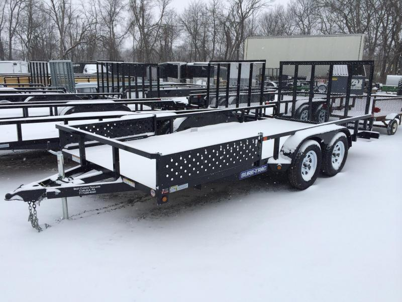 2018 Sure-Trac 7x16' Tube Top ATV Side Ramps Utility Trailer 7000# GVW