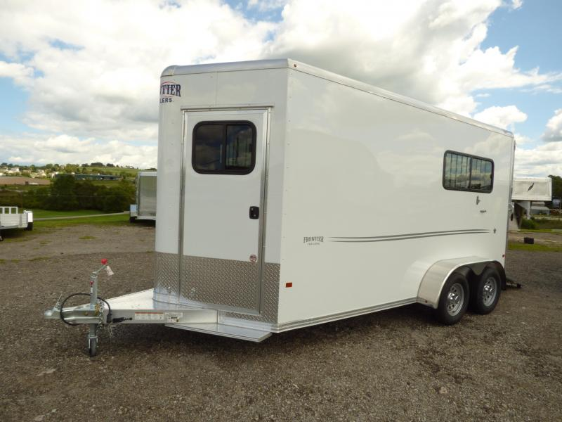 """NEW 2017 Frontier (2) Horse """"Fast Track"""" Straight Load Horse Trailer"""