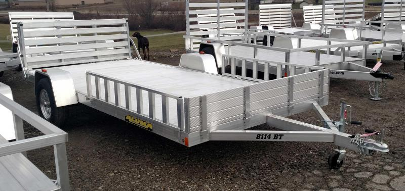 "NEW 2019 Aluma 6'9"" x 14' Utility Trailer w/ Side Ramps & Bi-Fold Gate"