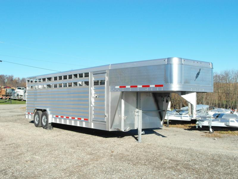 NEW 2016 Featherlite 8x24 Gooseneck Aluminum Stock Trailer Livestock Trailer