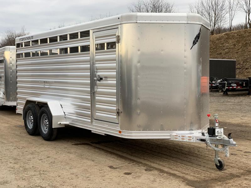 2019 Featherlite 18' Bumper Pull Aluminum Stock Trailer w/ Centergate with Slider