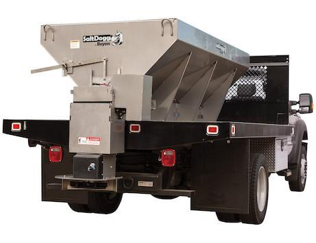 NEW Saltdogg 2.5 Cu Yd Electric Stainless Steel Mid-Size Hopper Spreader w/ Conveyor Chain & Std Chute