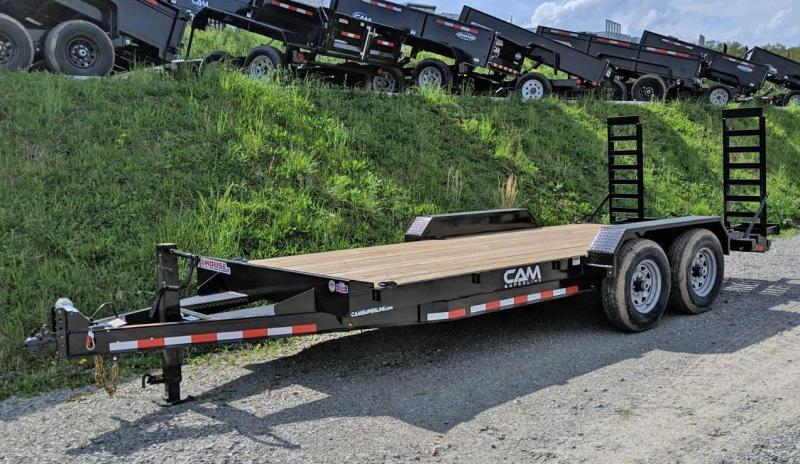 NEW 2019 CAM 18' HD Lo Pro Equipment Hauler w/ 2' Self Cleaning Beavertail/ Stand Up Ramps