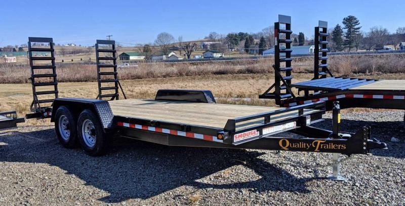 NEW 2019 Quality 18' General Duty Equipment Trailer w/ 2' Dove Tail & Stand Up Ramps