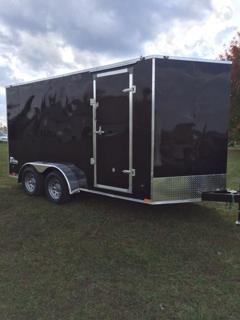 "2017 Stealth Trailers 58103 Enclosed Cargo Trailer Black 7 x 14 6"" Extra Height Rear Ramp Door"