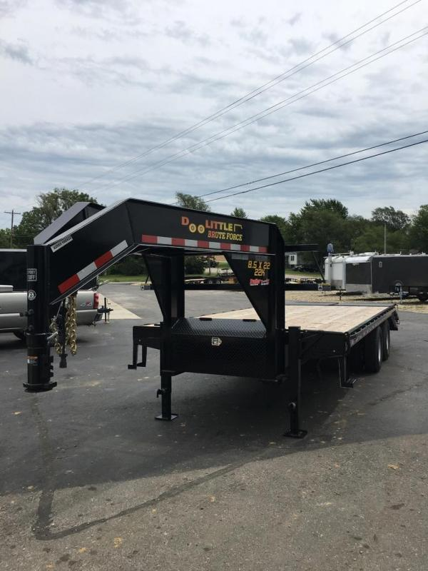 2020 Doolittle Trailer Mfg 102X22 DOOLITTLE GOOSENECK DECKOVER 5' DOVE BLACK Flatbed Trailer