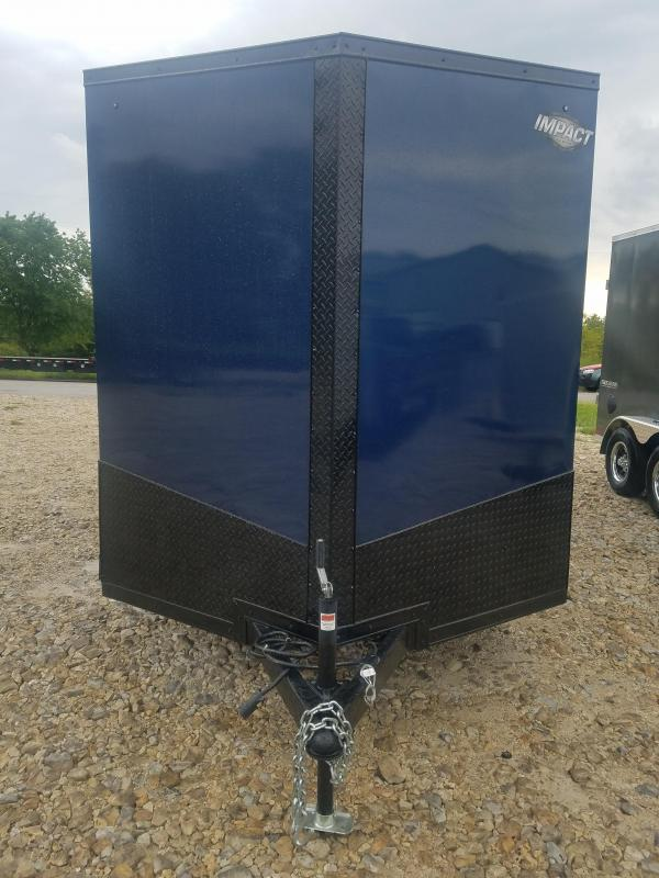 """2020 Impact Trailers 7X16 IMPACT REAR RAMP SIDE DOOR 84"""" HEIGHT BLUE Enclosed Cargo Trailer"""