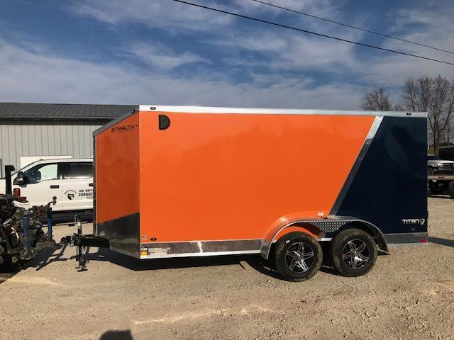 2018 Stealth Trailers 7X14 TITAN SE TANDEM AXLE TWO TONE ORANGE/BLUE Enclosed Cargo Trailer