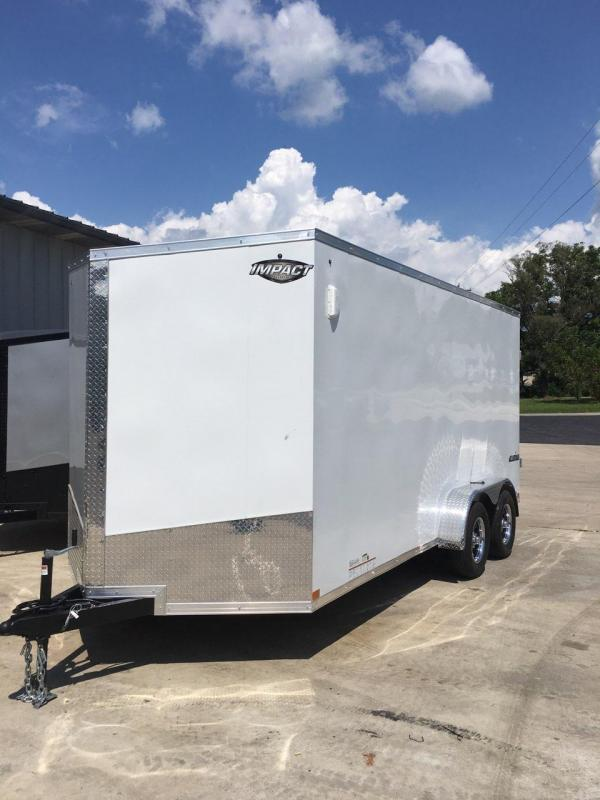2020 Impact Trailers 7X16 IMPACT TREMOR REAR RAMP TAPED SEAMS WHITE Enclosed Cargo Trailer