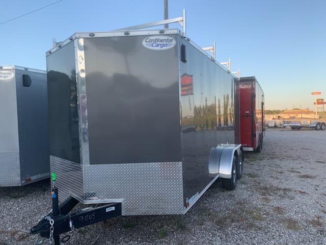 2020 Continental Cargo 7X16 CC 4 LADDER RACKS RAMP DOOR 10K GVW GRAY Enclosed Cargo Trailer