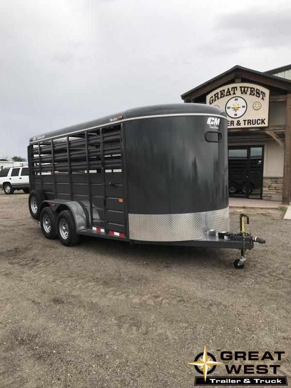 2019 CM Stocker 16 Stock trailer Livestock Trailer Charcoal