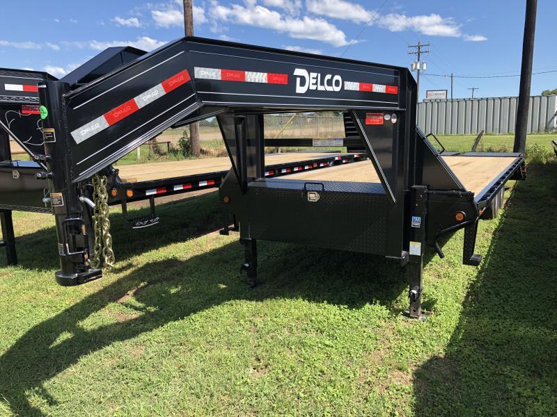 2019 Delco Trailers 25' FLATBED MAX RAMPS GOOSENECK