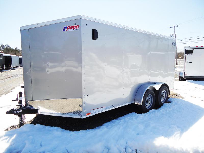 2019 Pace American 7X14 OBDLX TE2 V SLOPE SVNTS SILVER Enclosed Cargo Trailer