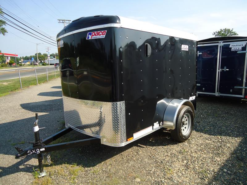 2018 Pace American 5X8 JT SI2 DRNG STAB JCKS BLACK Enclosed Cargo Trailer