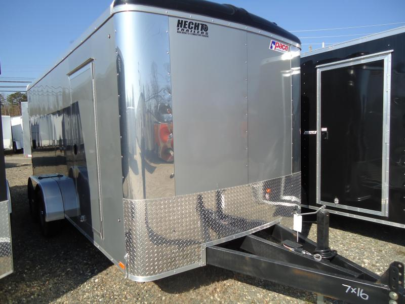 2020 Pace American 7X16 CLS TE2 18A 6X RAMP SVNTS SILVER Enclosed Cargo Trailer