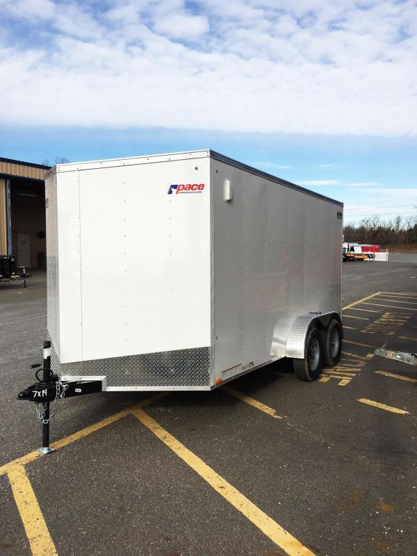 2018 Pace American 7X14 OBDLX TE2 RAMP 6X SVNTS WHITE Enclosed Cargo Trailer
