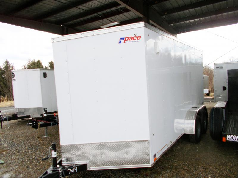 "2019 Pace American 7X14 OBDLX TE2 30""VS 6""X RAMP SVNTS WHITE Enclosed Cargo Trailer"