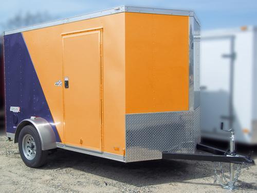BRAVO 5X8SC SA V RENTAL Orange & Blue Enclosed Cargo Trailer
